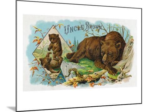 Uncle Brown Brand Cigar Box Label, Brown Bears-Lantern Press-Mounted Art Print