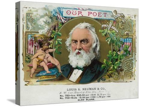 Our Poet Brand Cigar Box Label, Henry W. Longfellow-Lantern Press-Stretched Canvas Print