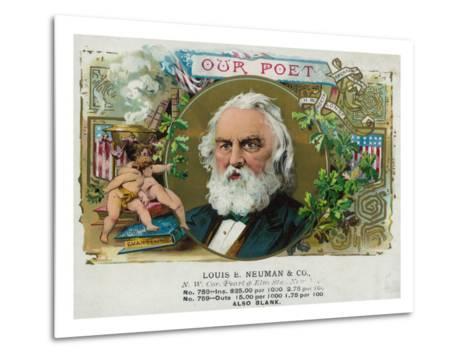 Our Poet Brand Cigar Box Label, Henry W. Longfellow-Lantern Press-Metal Print