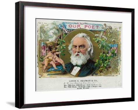 Our Poet Brand Cigar Box Label, Henry W. Longfellow-Lantern Press-Framed Art Print