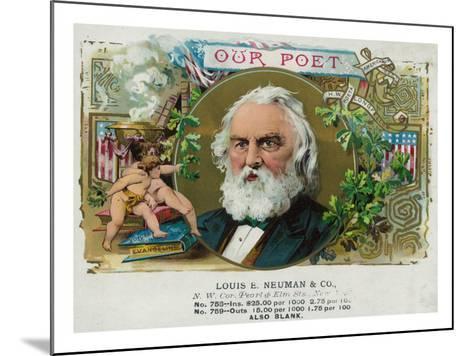 Our Poet Brand Cigar Box Label, Henry W. Longfellow-Lantern Press-Mounted Art Print