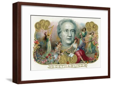 Goethebund Brand Cigar Box Label, Johann Wolfgang von Goethe, German Romantic Poet-Lantern Press-Framed Art Print
