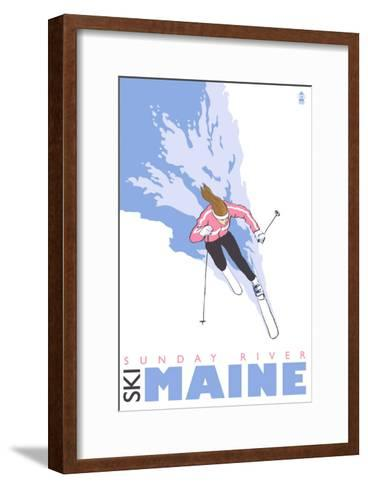 Sunday River, Maine, Stylized Skier-Lantern Press-Framed Art Print