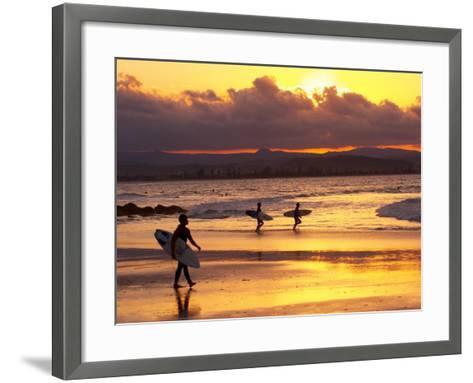 Surfers at Sunset, Gold Coast, Queensland, Australia-David Wall-Framed Art Print