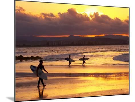 Surfers at Sunset, Gold Coast, Queensland, Australia-David Wall-Mounted Photographic Print