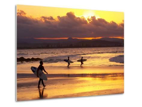 Surfers at Sunset, Gold Coast, Queensland, Australia-David Wall-Metal Print