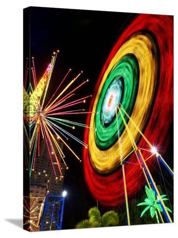Amusement Park at Night, Surfers Paradise, Gold Coast, Queensland, Australia-David Wall-Stretched Canvas Print