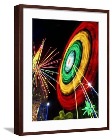 Amusement Park at Night, Surfers Paradise, Gold Coast, Queensland, Australia-David Wall-Framed Art Print