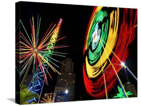 Amusement Park at Night, Surfers Paradise, Gold Coast, Queensland, Australia-David Wall-Stretched Canvas Print