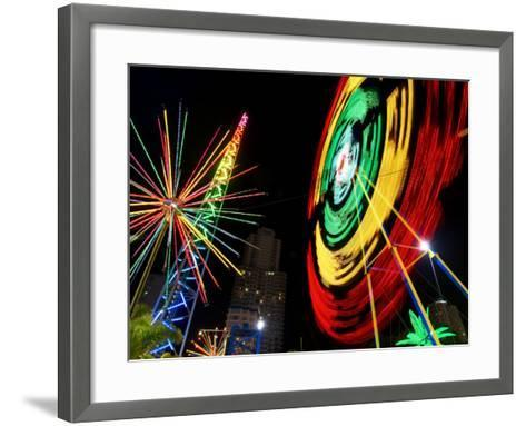 Amusement Park at Night, Surfers Paradise, Gold Coast, Queensland, Australia-David Wall-Framed Art Print