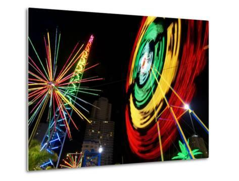Amusement Park at Night, Surfers Paradise, Gold Coast, Queensland, Australia-David Wall-Metal Print