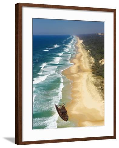 Wreck of the Maheno, Seventy Five Mile Beach, Fraser Island, Queensland, Australia-David Wall-Framed Art Print