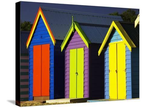 Bathing Boxes, Middle Brighton Beach, Port Phillip Bay, Melbourne, Victoria, Australia-David Wall-Stretched Canvas Print