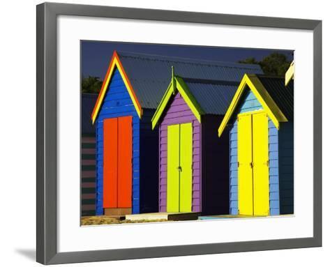 Bathing Boxes, Middle Brighton Beach, Port Phillip Bay, Melbourne, Victoria, Australia-David Wall-Framed Art Print