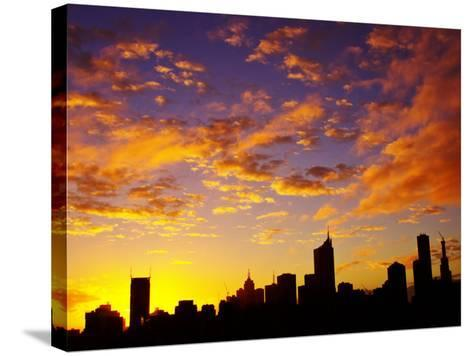 Melbourne CBD at Dawn, Victoria, Australia-David Wall-Stretched Canvas Print
