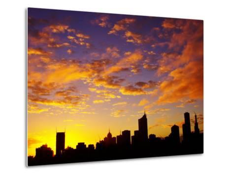 Melbourne CBD at Dawn, Victoria, Australia-David Wall-Metal Print