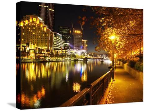 Southbank, Yarra River, and Flinders Walk, Melbourne, Victoria, Australia-David Wall-Stretched Canvas Print
