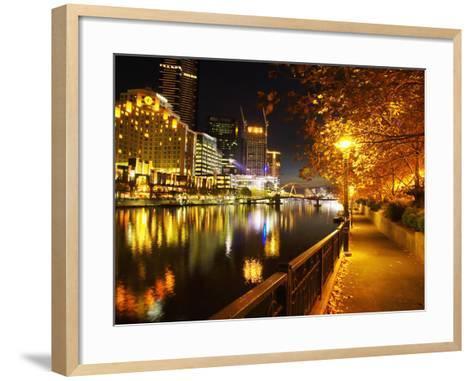 Southbank, Yarra River, and Flinders Walk, Melbourne, Victoria, Australia-David Wall-Framed Art Print