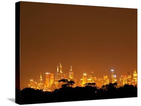 Melbourne CBD at Night, Victoria, Australia-David Wall-Stretched Canvas Print