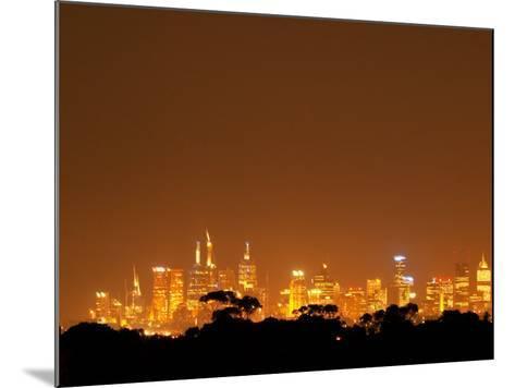 Melbourne CBD at Night, Victoria, Australia-David Wall-Mounted Photographic Print