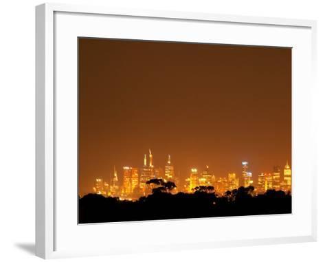 Melbourne CBD at Night, Victoria, Australia-David Wall-Framed Art Print