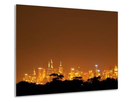 Melbourne CBD at Night, Victoria, Australia-David Wall-Metal Print