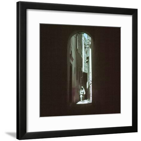 "Traditionally Garbed Arab Woman Walking Through ""Street of the Devil"" in Medina Quarter-Jack Birns-Framed Art Print"