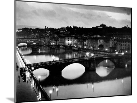 Bridges across the Arno River at Night-Alfred Eisenstaedt-Mounted Photographic Print