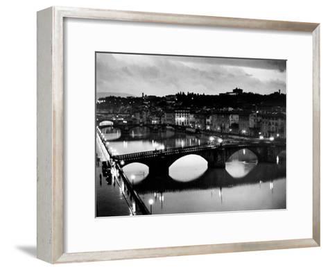 Bridges across the Arno River at Night-Alfred Eisenstaedt-Framed Art Print