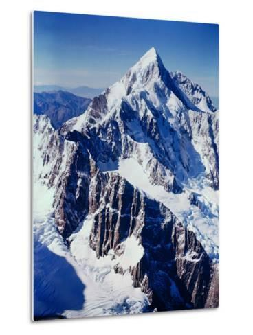 New Zealandsnow-Capped Mountain in New Zealand-George Silk-Metal Print