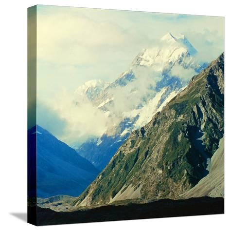 New Zealandsnow-Capped Mountain in New Zealand-George Silk-Stretched Canvas Print
