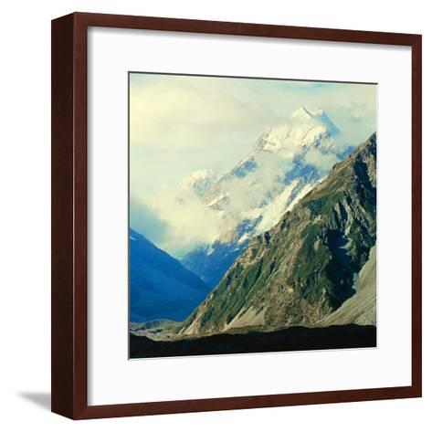 New Zealandsnow-Capped Mountain in New Zealand-George Silk-Framed Art Print