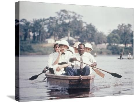 Dr. Albert Schweitzer Going Down the Ogowe River to Lambarene for His Birthday Celebration-George Silk-Stretched Canvas Print