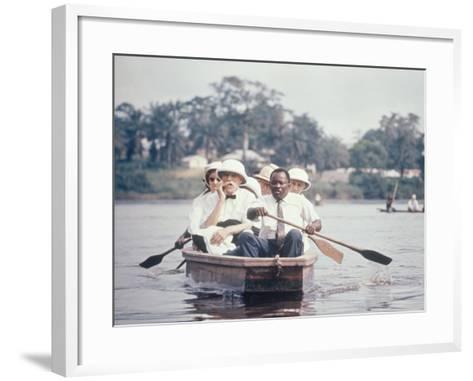 Dr. Albert Schweitzer Going Down the Ogowe River to Lambarene for His Birthday Celebration-George Silk-Framed Art Print