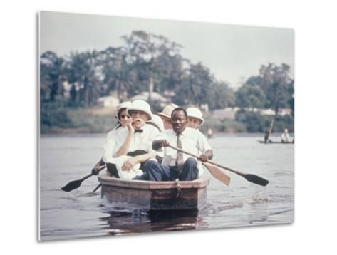 Dr. Albert Schweitzer Going Down the Ogowe River to Lambarene for His Birthday Celebration-George Silk-Metal Print