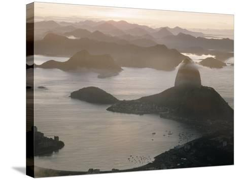 Aerial at Dusk of Sugar Loaf Mountain and Rio de Janeiro-Dmitri Kessel-Stretched Canvas Print