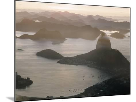 Aerial at Dusk of Sugar Loaf Mountain and Rio de Janeiro-Dmitri Kessel-Mounted Photographic Print