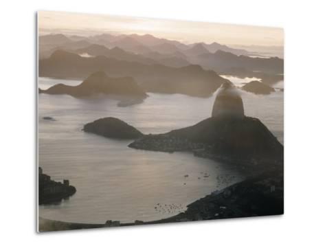 Aerial at Dusk of Sugar Loaf Mountain and Rio de Janeiro-Dmitri Kessel-Metal Print
