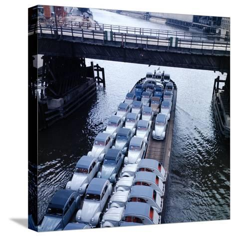 Low Aerials of Citroen Cars on Barge in Unidentified Waterssomewhere in Europe-Ralph Crane-Stretched Canvas Print