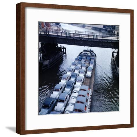 Low Aerials of Citroen Cars on Barge in Unidentified Waterssomewhere in Europe-Ralph Crane-Framed Art Print
