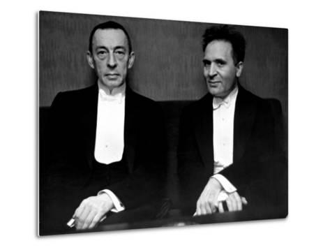 Orchestral Conductor Bruno Walter and Composer Pianist Sergei Rachmaninoff Relaxing Performance-Alfred Eisenstaedt-Metal Print