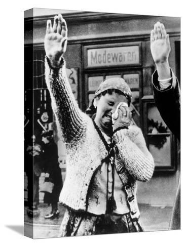 Czechoslovakian Woman Sobbs, Saluting German Troops after the Annexation by Germany of Sudetenland--Stretched Canvas Print