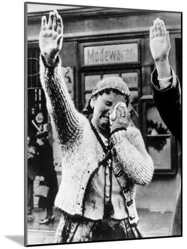 Czechoslovakian Woman Sobbs, Saluting German Troops after the Annexation by Germany of Sudetenland--Mounted Photographic Print