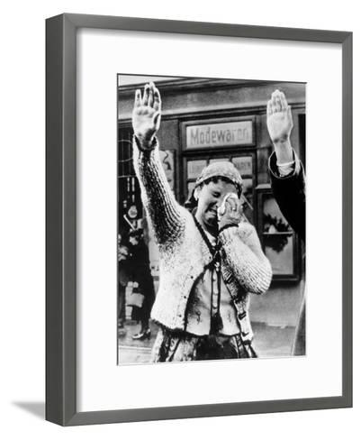 Czechoslovakian Woman Sobbs, Saluting German Troops after the Annexation by Germany of Sudetenland--Framed Art Print