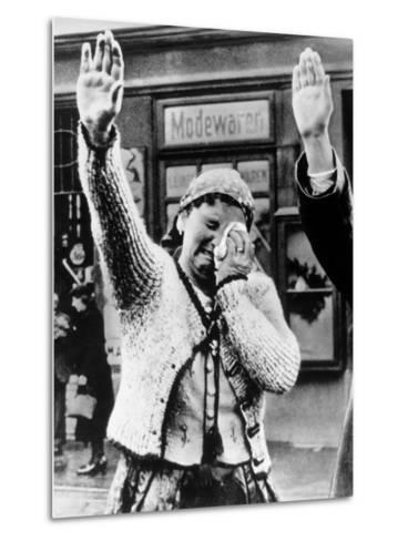 Czechoslovakian Woman Sobbs, Saluting German Troops after the Annexation by Germany of Sudetenland--Metal Print