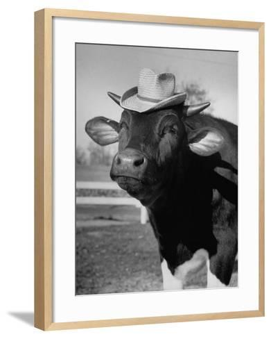 Trained Cow Wearing a Hat-Nina Leen-Framed Art Print