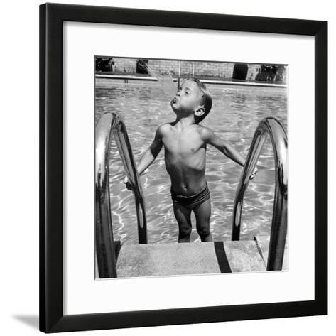 Duncan Richardson, 3-Year-Old Swimming Prodigy, Spouting Water Like a Whale, Town House Pool-Martha Holmes-Framed Art Print