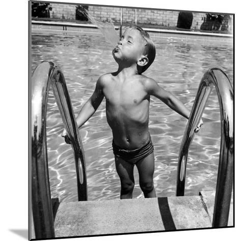 Duncan Richardson, 3-Year-Old Swimming Prodigy, Spouting Water Like a Whale, Town House Pool-Martha Holmes-Mounted Photographic Print