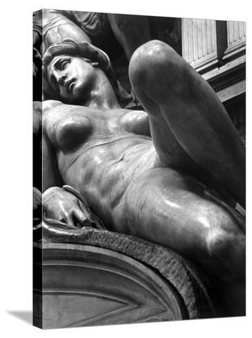Reclining Figure Sculpted by Michelangelo from His Tomb of the Medici-Alfred Eisenstaedt-Stretched Canvas Print