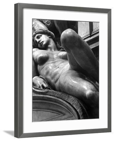 Reclining Figure Sculpted by Michelangelo from His Tomb of the Medici-Alfred Eisenstaedt-Framed Art Print
